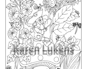 Happy Leprechaun, 1 Adult Coloring Book Page, Printable Instant Download