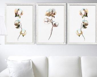 Cotton Painting Set 3 Watercolor Art Prints Bolls Cotton Decor Poster Minimalist Botanical Drawing White Living Room Decoration