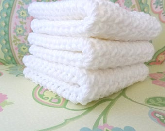 Crochet White Wash Cloths/Face Cloths/Bath Cloths/Kitchen Cloths made with cotton yarn - Set of 3 - Made to Order