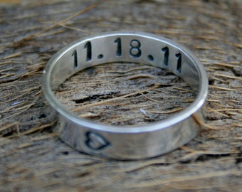 Personalized Jewelry - Custom Sterling Silver Anniversary Ring - Sideways Heart with Custom Date