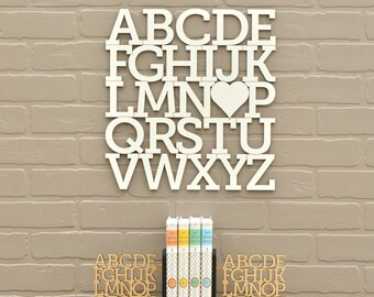 White Alphabet Letter Wood Modern Typography Nursery Wall Decor