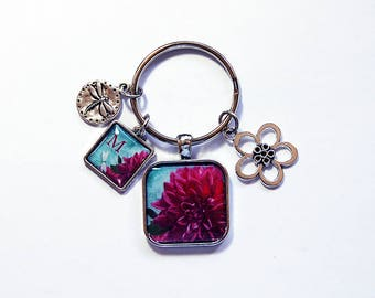 Flower keychain, Monogram Key ring, Initial keychain, Flower keyring, Stocking stuffer, gift under 20, gift for her, Flowers (7927)
