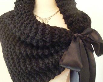 Bridal Shawl/Wedding Cape/Bridal Bolero/Wedding Shawl/Black Shawl/Hand Knit Shawl/Black Tie/Handmade Shawl/Black Bolero/Shrug/Black Wedding