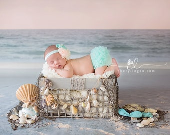 MINT BABY BLOOMER set,  baby headband and chiffon ruffle diaper cover, mint, peach and cream baby set, aqua blue.
