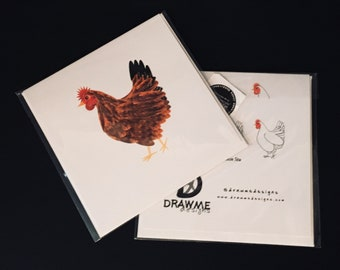 Chicken Greeting Card by DrawMe Designs