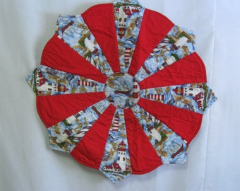 Vintage Patchwork Nautical Table Top Centerpiece Sailboats Lighthouses Table Runner Washable Ocean Sea Nautical Decor Free Ship