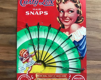 Vintage Curly Lox Hair Snaps New Old Stock Fab Packaging 1940s Glam