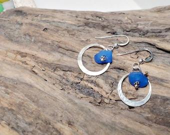 Blue Seaglass Earrings, Blue Sterling Hoop Earrings, Blue Glass Earrings, Seaglass Earrings, Beach Earrings, Beachglass Earrings