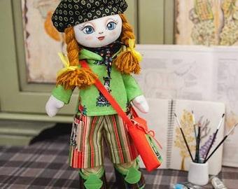 "Doll Making Kit, Set for sewing doll, Textile doll ""Artist"", Set for textile doll, Handmade doll, Sewing kit"