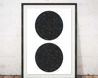 Contellations wall print, Constellations art, Constellations print, Wall art, Minimalist print, Circles art, Constellations, Horoscope