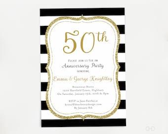 50th Anniversary Invitation, Glitter Gold Fiftieth Wedding Anniversary Invite, 60th 65th Black and Gold Anniversary Party Invites, Stripes