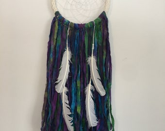 Single Rope Ring Dream Catcher with tie dye tail