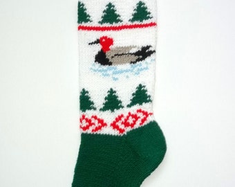 Duck Hand-Knit Christmas Stocking