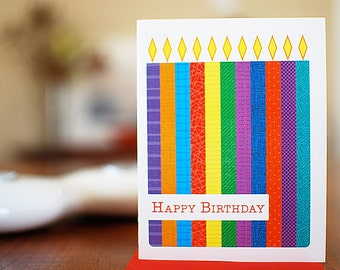 Birthday Candles Color Block Birthday Card on 100% Recycled Paper