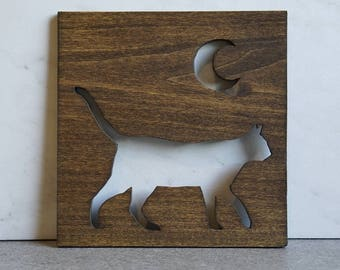Cat & Moon Wood Sign, Brown | Cat Artwork | Cat Decor | Cat Wall Hanging | Cat Lover Gift | Rustic Home Decor | Housewarming Gift