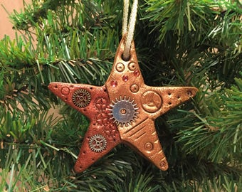 Steampunk Star Holiday Ornament - Industrial Christmas Tree Home Decor Polymer Clay Mixed Media style 5