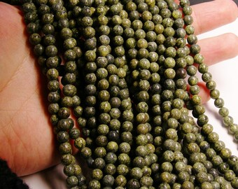 Russian Serpentine - 6mm round beads -1 full strand - 68 beads - WHOLESALE DEAL - RFG145