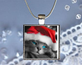 Pendant Necklace Holiday Cat