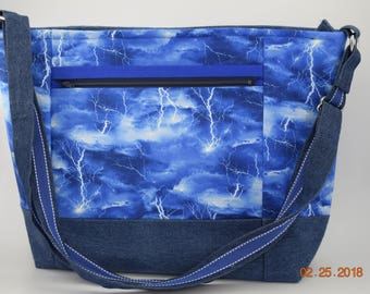 Large Tote | Diaper Bag | Travel Tote| Large Tote | Sturdy Tote | Travel Tote| Blue Lightning