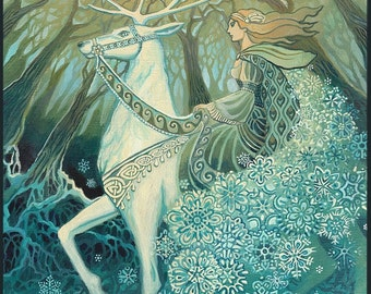 Snow Queen 11x14 Fine Art Print Pagan Mythology Bohemian Yule Winter Solstice Goddess