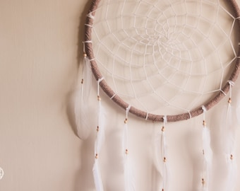Big Dreamcatcher with Brown Frame and White Feathers - Large Dream Catcher for Home Decoration, Wedding or Nursery Decor
