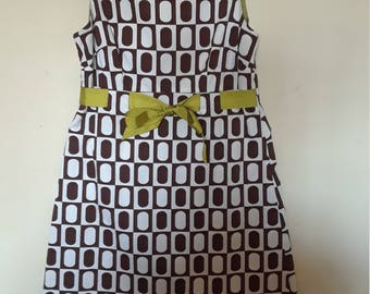 Juniors/Women Brown and White Spring Dress