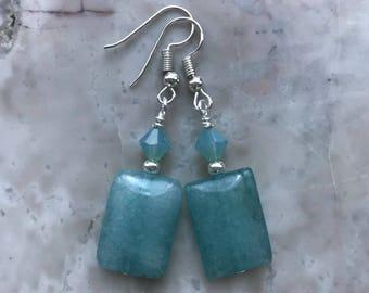 Aquamarine Rectangular Glass Bead Earring