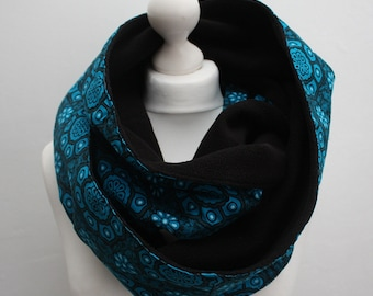 Snood Scarf, Turquoise Scarf, Infinity scarf, Circle scarf, Hooded scarf, Fleece Scarf, African print scarf, Gift for her, Afrocentric Gift