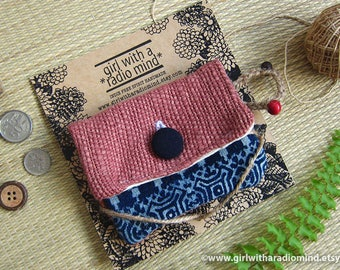 Gift for Her - Dusty Pink Hmong Indigo Small Purse - Tribal Ethnic Coin Purse Card Wallet