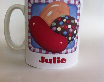 Candy crush personalised with any name novelty/funny mug birthday