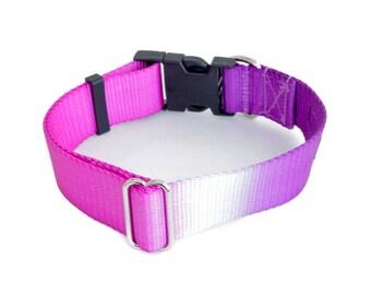 "Dog Collar - ""Purple Haze"" ( Purple & Pink Custom Hand Dyed ) 5/8"" - 2"" Widths"