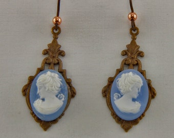 Handmade Chocolate Brass With  Blue And White Resin Cameos Dangle Earrings 13x18mm Cabochons Niobium Hooks