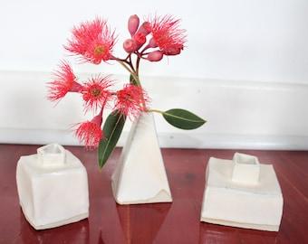 SALE - Trio of White Hand Made Ceramic Stoneware Vases