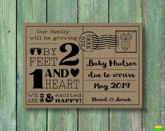 PRINTABLE Pregnancy Announcement Card–Printable Baby Announcement Card–Pregnancy Reveal Card-Baby Reveal-Our Family Will Be Growing-PA20