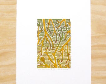 "Woodblock Print - ""Until Next Season"" - Hosta Plant - Art Printmaking - Brown"