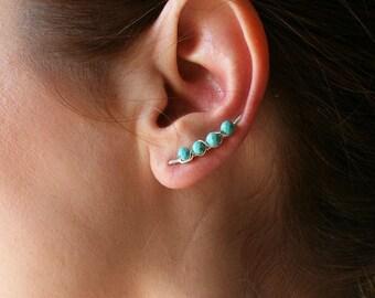 Beaded Ear Climber Earrings Silver Turquoise | Ear Crawler | Ear Sweeps