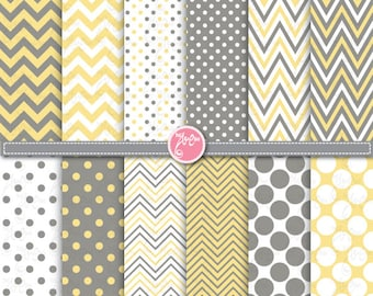 polka dot and chevron digital paper pack ,yellow & grey Clip Art  Printable for Scrapbooking, Cards, Party paper ,Invitations Dp057