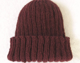 Wool Watch Cap, burgundy hat, hand knit beanie, ribbed knit hat, hat for child, wool toque, hat for woman, stretchy wool hat, wool toque,