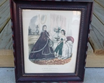 Vintage La Mode Illustree print 1950's print of original 1850's magazine page in vintage mahogany colored frame
