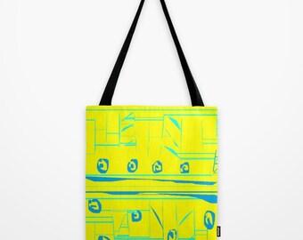 Lemon Yellow Turquoise Print Tote Bag Abstract Print Tote Bag Beach Bag Work Bag Shopping Bag Grocery Bag Gym Bag Gift for Him Gift for Her