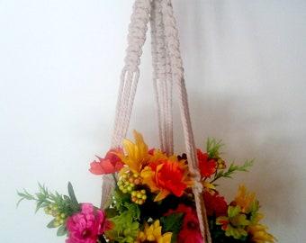 Green Hanging Planter with Macrame Basket