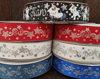 7/8 Unicorn ribbon, July 4th Ribbon, Patriotic ribbon, Red white and blue ribbon, Independence day ribbon