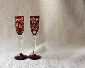 Ruby Red Cut to Clear Crystal Cordial Glasses - Bohemian Art Glass -Wine Glasses-GentlemanlyPursuits