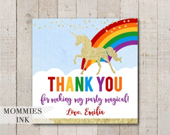 Unicorn Favor Tags, Unicorn Thank You Tags, Unicorn Birthday Favor Tags, Rainbow Gift Tag, Gold Unicorn Favor Tag, Magical Unicorn Favor Tag
