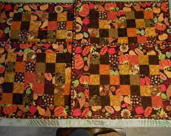 Quilted Place Mats Pieced Center Blocks Autumn Bounty  Quilted Patchwork Placemat or Table topper