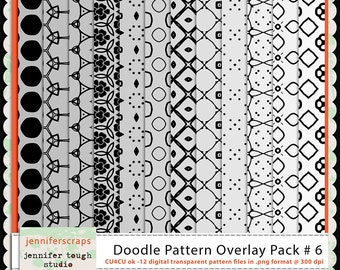 Instant Download - Set of 12 digital paper overlays/templates - Doodle patterns overlay set 6 - CU4CU ok
