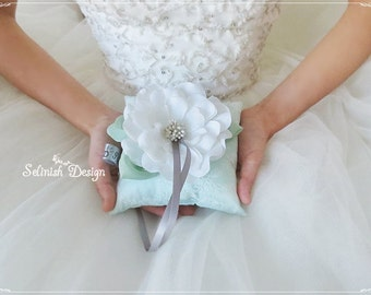 Mint Green Ring Bearer Pillow, Personalized Flower Mint Wedding Ring Bearer Pillow, Ring Pillow