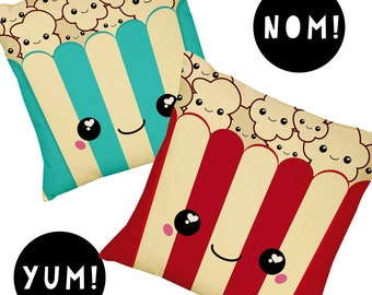 Popcorn Face Cushion |  Kawaii | Cool Gift  | Red | Turquoise