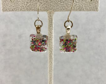Green  Hot Pink Glitter Glass Dangle Earrings Doodaba