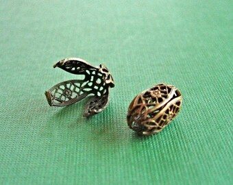 Vintaj Messing filigrane Perlen wickeln, Vintaj filigranen Fassung, eine Perle 15 x 9mm
